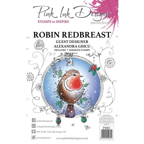 Pink Ink  A5 Robin Redbreast Clear Stamp Set